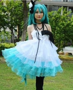 I love the colours and textures of this dress! VOCALOID Miku Japanese Anime Cosplay Costume Lolita Dress Wig Gloves Stockings | eBay