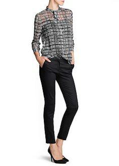 MANGO - NEW - Irregular check chiffon blouse