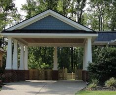 carport ideas - Bing Images  Update carport with brick/stone and thicker pillars or change it into a garage?
