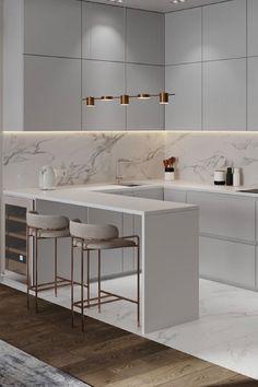 Luxury Kitchen Design, Kitchen Room Design, Kitchen Cabinet Design, Kitchen Layout, Home Decor Kitchen, Home Room Design, Interior Design Kitchen, Home Kitchens, Kitchen Ideas