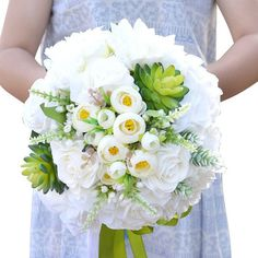 Roses Peony Flower and Succulents Silk Flowers Wedding Bridal Bouquet