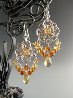 So pretty!! Helm+Circle+Chainmaille+Earrings+with+Citrine+by+WolfstoneJewelry,+$65.00