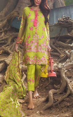 Buy Parrot Green Embroidered Chiffon Salwar Kameez by Mina Hasan 2015Call: (702) 751-3523  Email: Info@PakRobe.com www.pakrobe.com https://www.pakrobe.com/Women/Clothing/Buy-Designer-Chiffon-Dresses #DESIGNER #CHIFFON #DRESSE