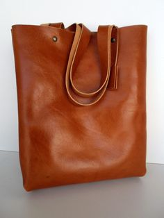 Great gift for mum. Simple Cognac Leather Tote Bag - Leather Bag – a unique product by rwoodb via en.DaWanda.com