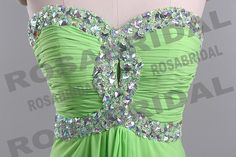 New Style 2014 Cheap Discount Beading Light Green Chiffon Prom Dress Formal Gown Evening Party Dress Custom 2 4 6 8 10 12 14 16 16w