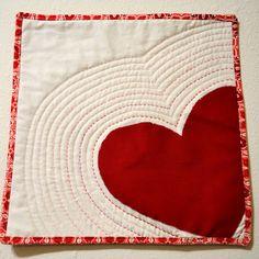 Modern heart mini quilt