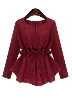 Plus Size Womens Blouse Shirts Autumn Slim Waist Ruffles Long Sleeved Cotton Linen Shirt Elegant All-match Chemise Femme Blusas Red Blouses, Blouses For Women, Spring Blouses, Cotton Blouses, Shirt Blouses, Tee Shirts, Blouse Styles, Blouse Designs, Hijab Fashion