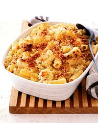 Parmigiano-Crusted Rigatoni with Cauliflower and Prosciutto  Melissa Rubel Jacobson uses a few great shortcuts to make her creamy baked pasta. She starts by boiling the cauliflower and rigatoni together in one pot. Then, for a quick and supercrispy topping, she sprinkles the dish with Parmigiano-panko crumbs and broils it. The topping browns perfectly in only two minutes.