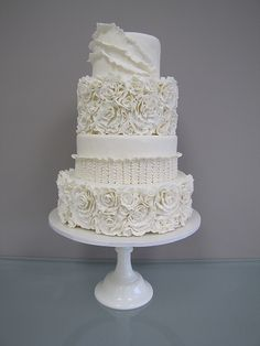 White Floral Ruffle Cake