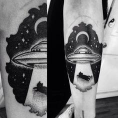 UFO Abduction Dotwork Tattoo  Macarena Sepúlveda 2014