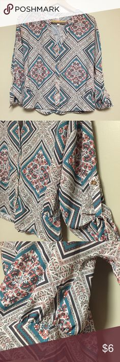 Boho Chic Cute Top EUC! Cute pattern for Spring & Summer!Bohemian look that makes denim shorts or denim jeans look super trendy & festival ready!  SZ: S •no filters on my pics • Xhilaration Tops Blouses