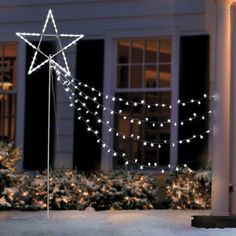 add drama to your holiday yard with the shooting star light set this christmas decoration features energy saving led lights including some that twinkle