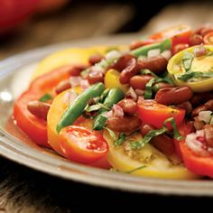 This beautiful salad combines fresh tomatoes, green beans, red onions and dried heirloom beans....