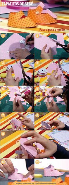 como hacer zapatitos de bebe de papel