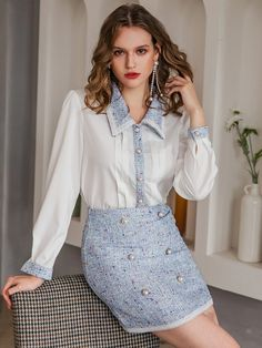 Indian Fashion Modern, New Fashion, Fashion News, Tweed Skirt, Contrast Collar, Collar Blouse, Two Piece Outfit, Skirt Fashion, Skirt Set