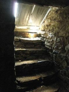 old farm cellar - My childhood home had stairs and a cellar like this. My grandma had a cellar like this--it was spooky! Country Charm, Country Life, Country Living, Country Barns, Wine Country, Down On The Farm, Back In The Day, Permaculture, Storm Cellar