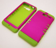 Case for Motorola Droid RAZR M Pink and Lime Green | eBay