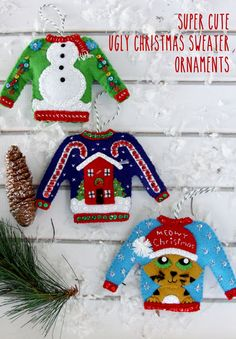 christmas in july ugly christmas sweater ornaments kit - Handmade Christmas Ornaments