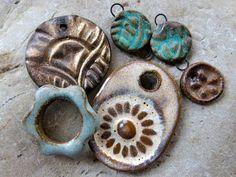 Vintage Sky  Handmade Ceramic Beads by ktotten on Etsy
