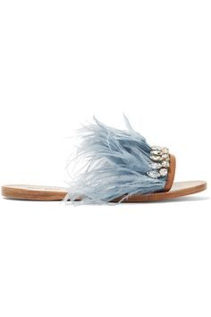 Miu Miu - Swarovski Crystal And Feather-embellished Satin And Leather Slides - Sky blue - IT