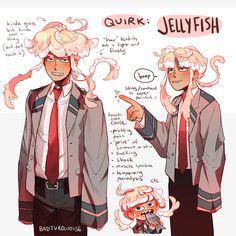 here's another boi,,, because apparently i can't stop making bnha ocs his quirk is jellyfish (which is the result of me watching…