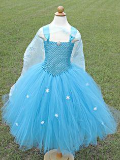Elsa tutu dress Frozen inspired with handmade cape- Turquoise tutu dress - Princess Dress by krystalstutukloset. Explore more products on http://krystalstutukloset.etsy.com