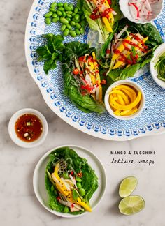 Mango & zucchini lettuce wraps with ginger soy dipping sauce