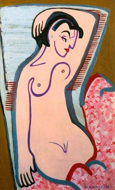 Ernst Ludwig Kirchner - Reclining Female Nude, 1931