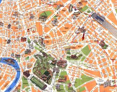 Printable Road Map of rome | Detailed travel map of Rome city center. Rome city center detailed ...