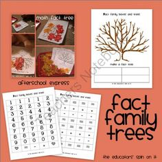 Fact Family Trees from The Educators Spin On It on TeachersNotebook.com (3 pages)  - Use these Fact Family Trees as part of your Math Curriculum for Fall.  Students create trees for each fact family.  Use along with our Leaf Afterschool Activities on our website.
