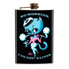 Purple Leopard Boutique - No Worries I've Got 9 Lives Stainless Steel Flask , $35.00 (http://www.purpleleopardboutique.com/no-worries-ive-got-9-lives-stainless-steel-flask/)
