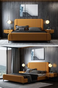 Unisex Decor - Orange Bed Frame Bedroom Home Decor Ideas Hotel Bedroom Design, Master Bedroom Interior, Modern Master Bedroom, Bedroom Furniture Design, Modern Bedroom Design, Bed Furniture, Minimal Bedroom, Furniture Layout, Bedroom Sets