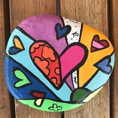Painted Beach Stone Hearts