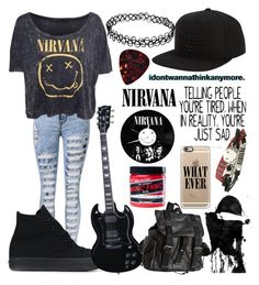 """Nirvana"" by musiclover135 ❤ liked on Polyvore featuring Converse, Billabong, Joe's Jeans, Casetify, Crafted and Manic Panic NYC"