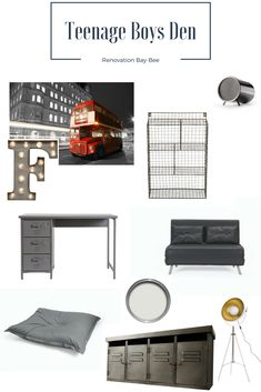 I have put together a teenage boys den style. Any teenage boy would love the industrial style, with grey tones and space for them to chill out