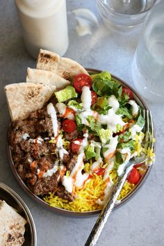 NYC Halal Truck Lamb Platter — Cooking with Cocktail Rings Platter recipes, lunch bowls, halal guys food, easy lunch bowls, lunch recipes for work. Halal Recipes, Greek Recipes, Cooking Recipes, Lunch Recipes, Ground Lamb Recipes, Greek Yogurt Sauce, Cooking With Turmeric, Lamb Dishes, Middle Eastern Recipes