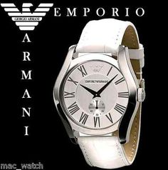 EMPORIO ARMANI Herren Uhr AR0696 Herrenuhr weiss Leder ORIGINAL NEU