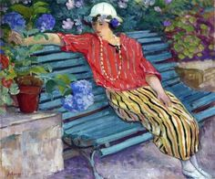 Henri Lebasque - A Young Woman Seated with Hydrangeas – c. 1925