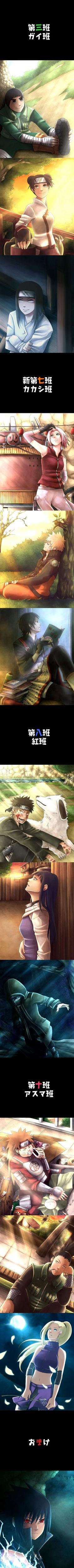 The different teams (and poor lonely Sasuke at the end...that's what you get for leaving the village, teme!!!!)