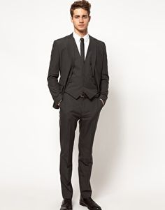 Enlarge ASOS Slim Fit Suit in Charcoal. My brother is getting this for prom :')