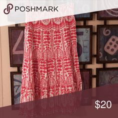 Sharon Young Skirt Red and white print skirt. Full length. Can double as a strapless sun dress as well Sharon Young  Skirts Maxi