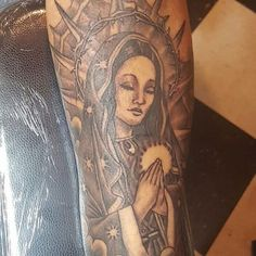 The Virgin Mary tattoos are ones of the Christian tattoos that are very popular and have been common for a long period of time. Maria Tattoo, Christian Tattoos, Tattoo Designs And Meanings, Tattoo Models, Body Tattoos, Virgin Mary, Our Lady, Spirituality, Tattoo Motive