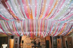 The Beautiful Fabric Ceiling All Lit Up!  Styling: Pack A Perfect Party  Photography: Feather & Stone    Ribbon/Fabric Ceiling, Wedding Hall, Country Wedding, Multi Colour