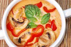 Thai red curry sauce with chicken, quinoa   Sub tofu or seitan for chicken