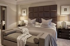 Lacquered matched Mahogany bedside tables sit proudly alongside the statement headboard in this contemporary bedroom. Bedroom Furniture, Furniture Design, Bedroom Interiors, Furniture Ideas, Luxury Interior, Interior Design, Interior Ideas, Classic Home Decor, Classic Interior