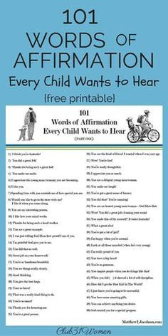 101 Words of Affirmation Every Child want to Hear.