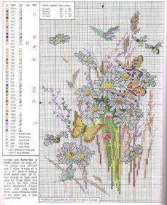 Beautiful wild flowers cross stitch pattern