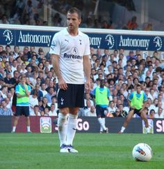 Rafael van der Vaart lines up a free kick in our win against Arsenal at White Hart Lane