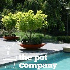 Lightweight Fibreglass Garden Planter Adezz Ceder Dish Round Orange