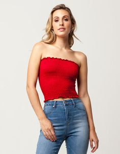 21632c6c79 SKY AND SPARROW Smocked Womens Tube Top - RED - 313881300